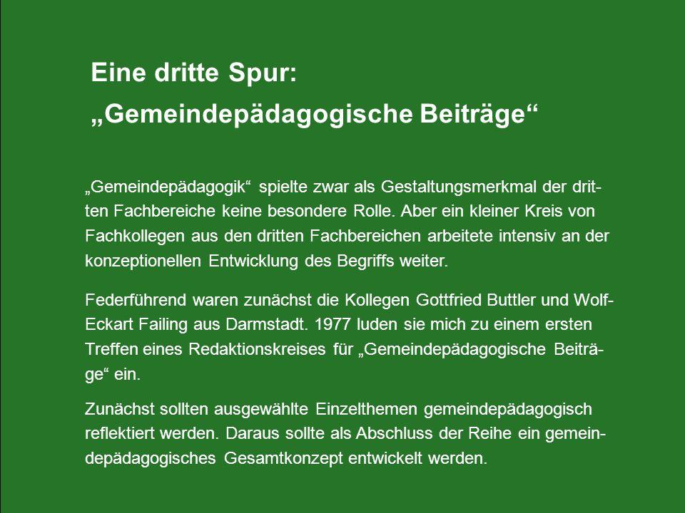 """""""Gemeindepädagogische Beiträge"""
