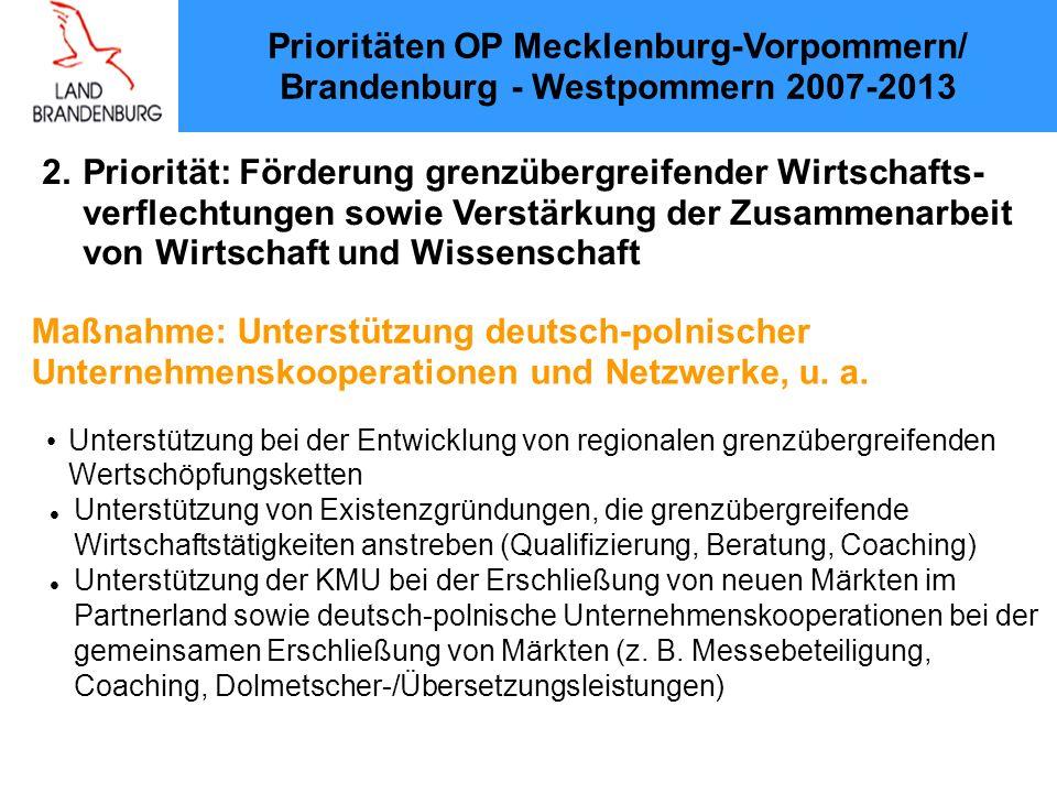 2. Priorität: Förderung grenzübergreifender Wirtschafts-