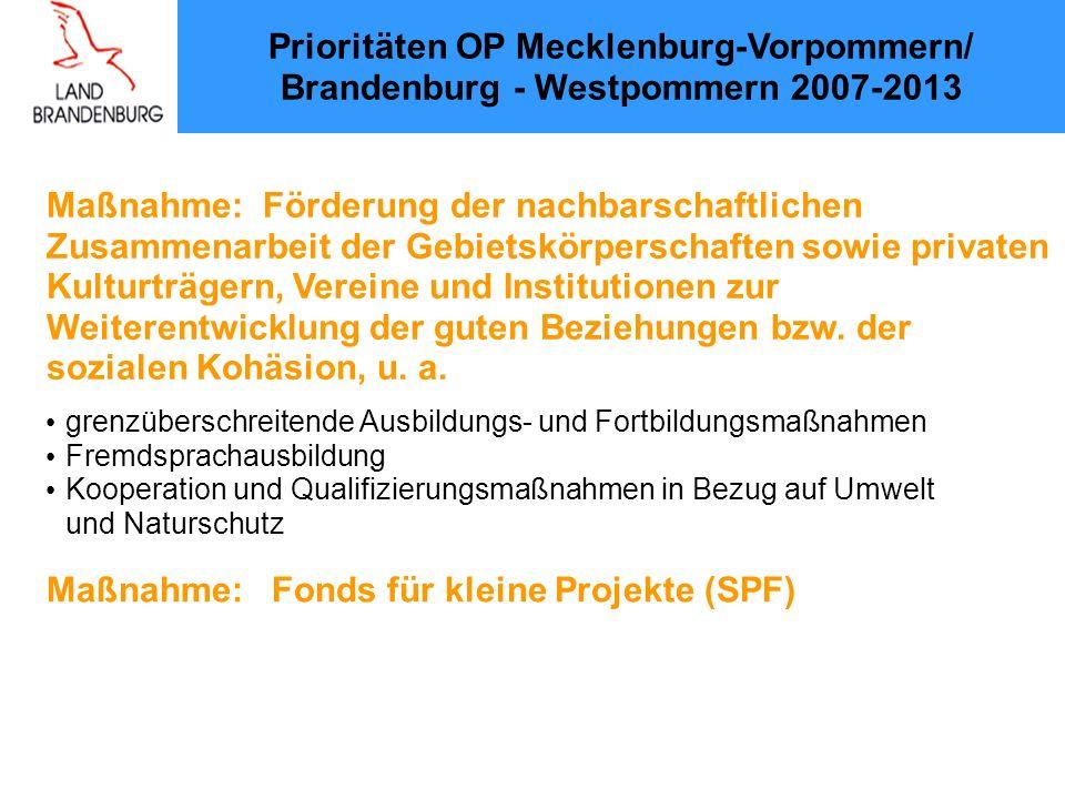 Prioritäten OP Mecklenburg-Vorpommern/