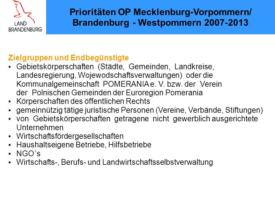 Prioritäten OP Mecklenburg-Vorpommern/ Brandenburg - Westpommern 2007-2013