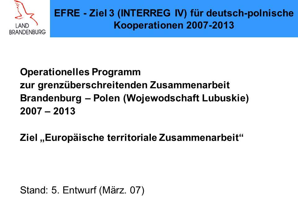 EFRE - Ziel 3 (INTERREG IV) für deutsch-polnische Kooperationen 2007-2013