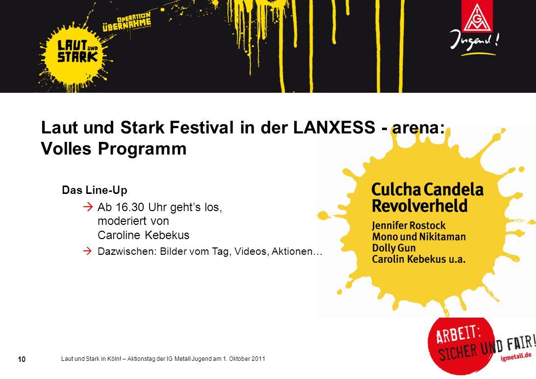 Laut und Stark Festival in der LANXESS - arena: Volles Programm