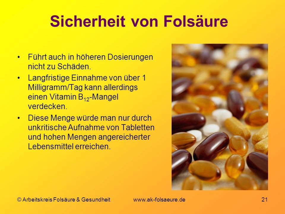 Sicherheit von Folsäure
