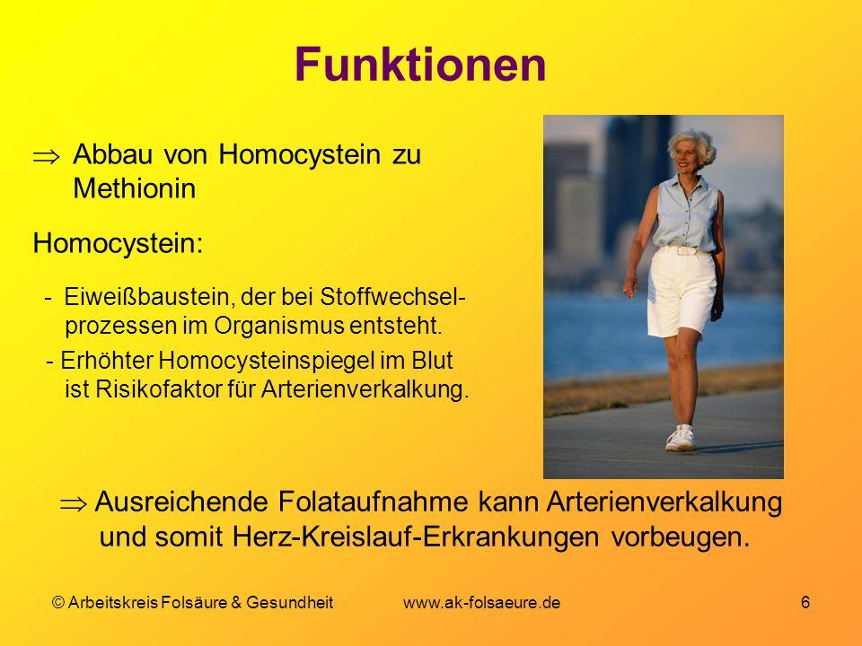 Funktionen Abbau von Homocystein zu Methionin Homocystein: