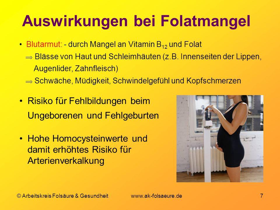 Auswirkungen bei Folatmangel