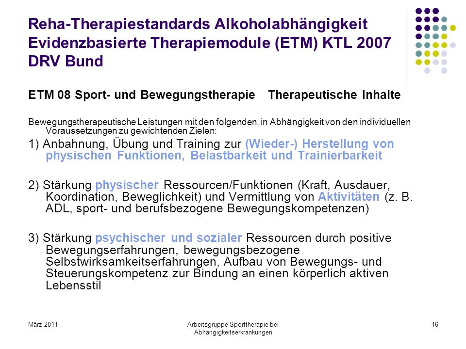 Arbeitsgruppe Sporttherapie bei Abhängigkeitserkrankungen