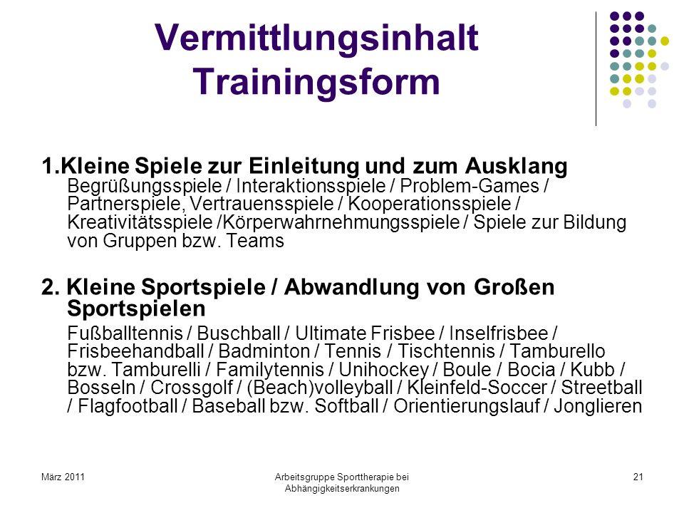 Vermittlungsinhalt Trainingsform