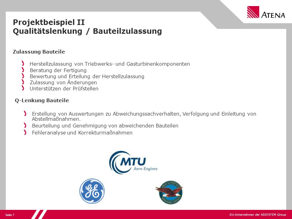 Projektbeispiel II Qualitätslenkung / Bauteilzulassung