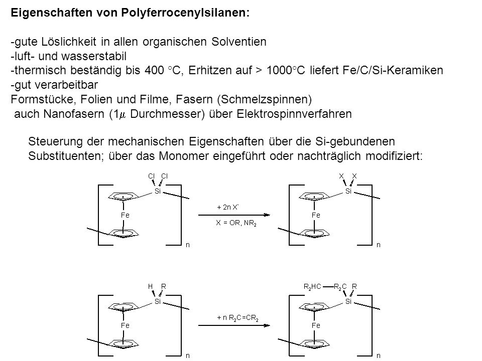 Eigenschaften von Polyferrocenylsilanen: