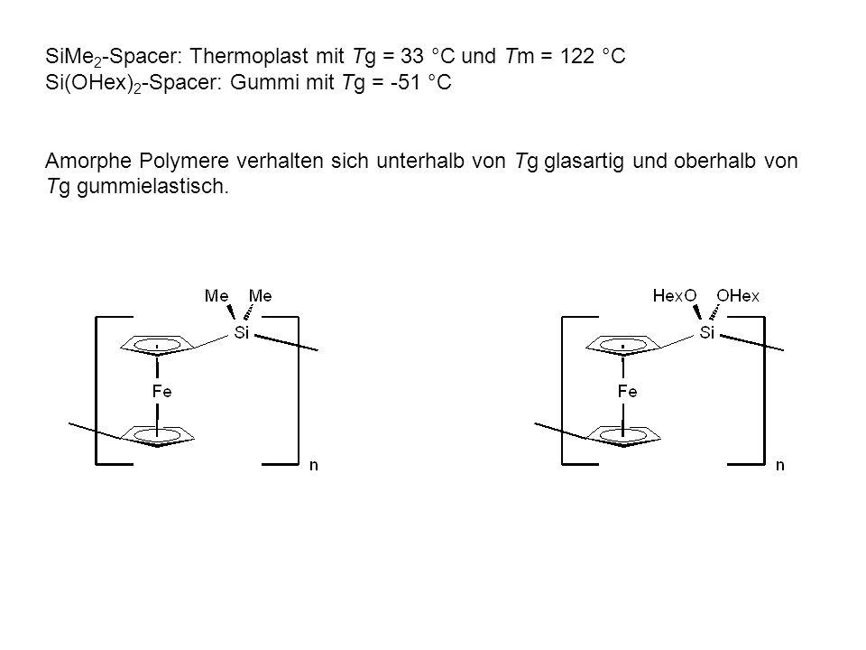 SiMe2-Spacer: Thermoplast mit Tg = 33 °C und Tm = 122 °C