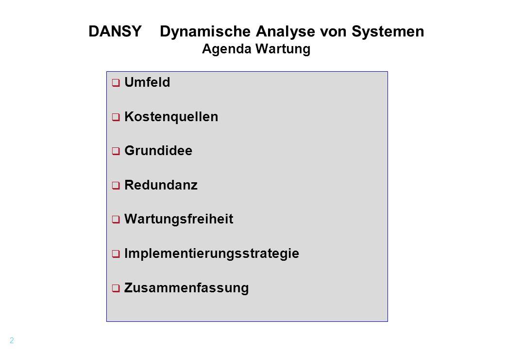 DANSY Dynamische Analyse von Systemen Agenda Wartung
