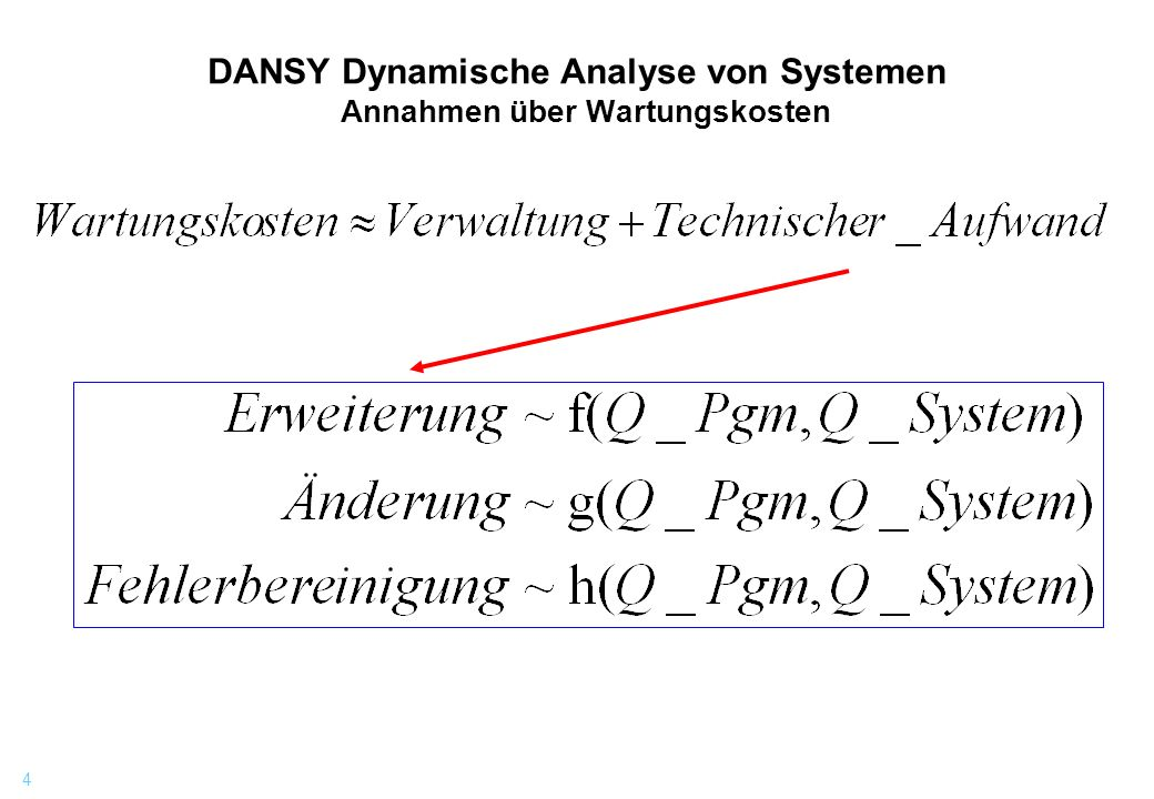 DANSY Dynamische Analyse von Systemen Annahmen über Wartungskosten