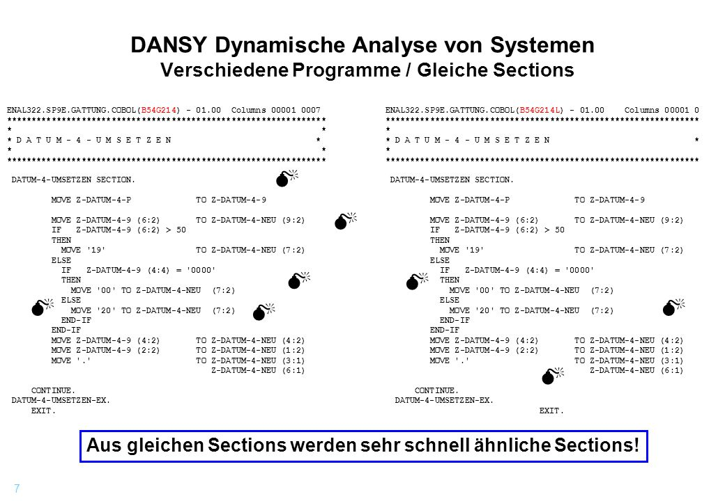 DANSY Dynamische Analyse von Systemen Verschiedene Programme / Gleiche Sections