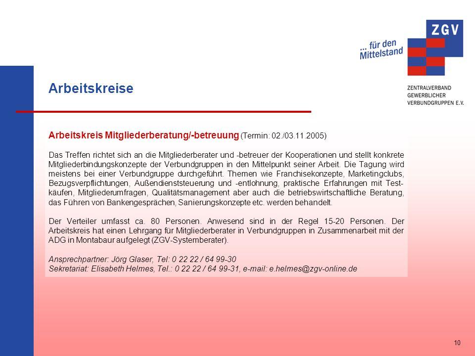 Arbeitskreise Arbeitskreis Mitgliederberatung/-betreuung (Termin: 02./03.11.2005)