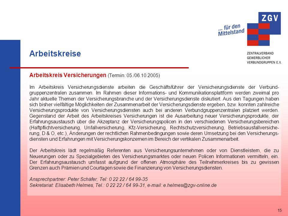 Arbeitskreise Arbeitskreis Versicherungen (Termin: 05./06.10.2005)