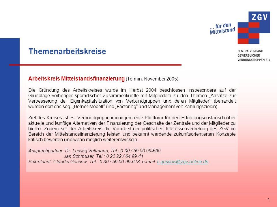 Themenarbeitskreise Arbeitskreis Mittelstandsfinanzierung (Termin: November 2005)