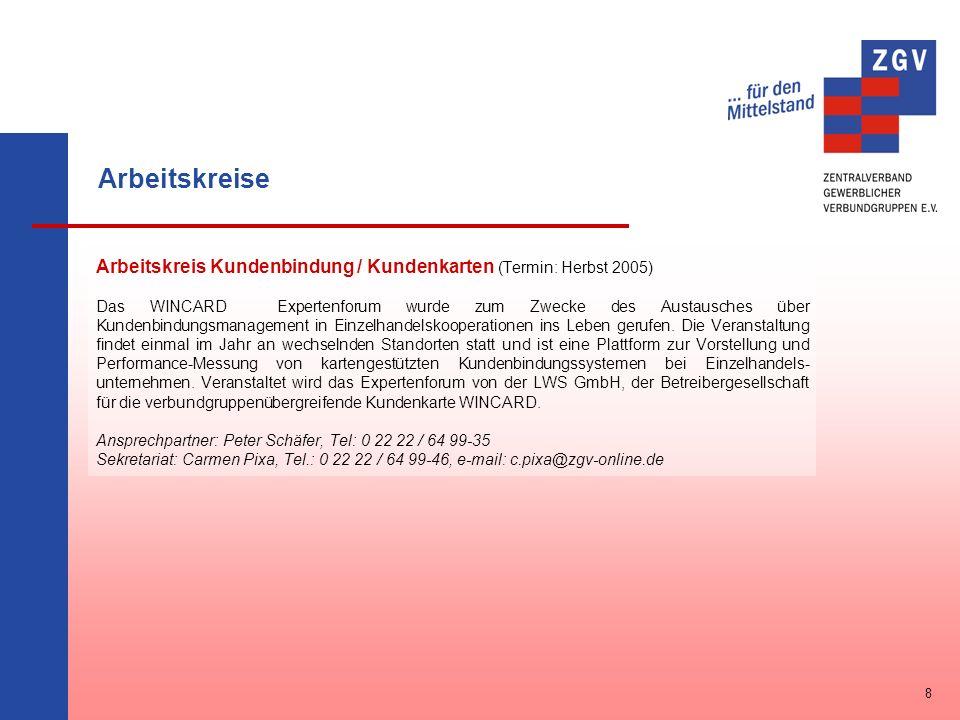 Arbeitskreise Arbeitskreis Kundenbindung / Kundenkarten (Termin: Herbst 2005)