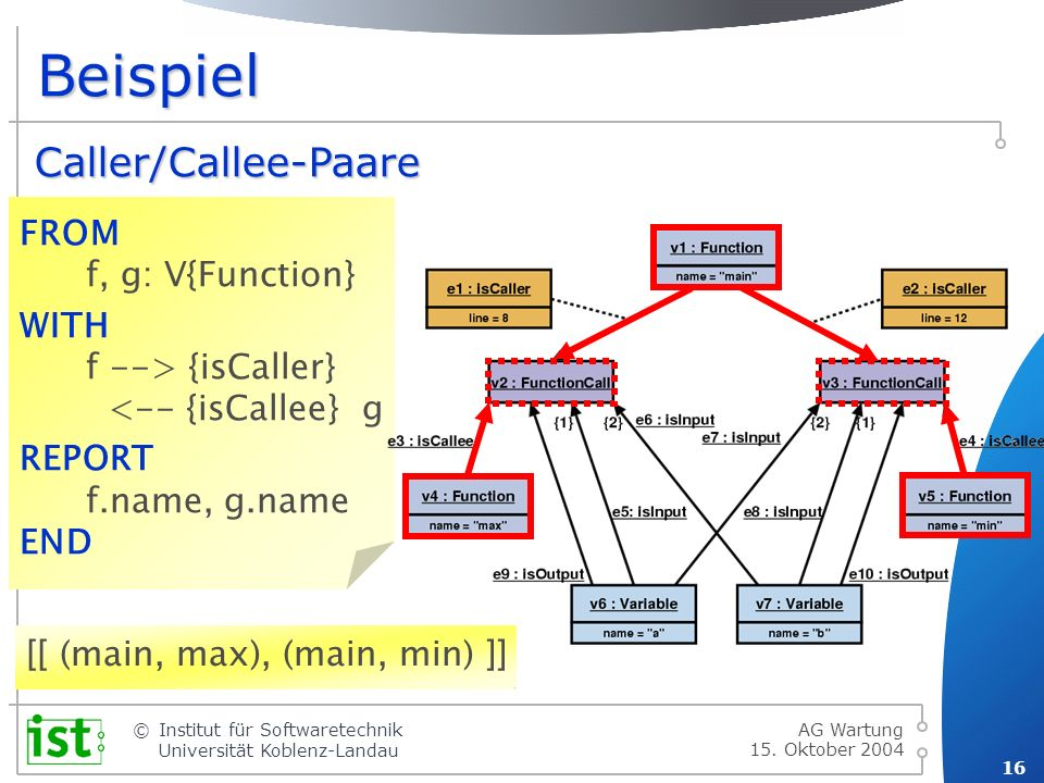 Beispiel Caller/Callee-Paare FROM f, g: V{Function}