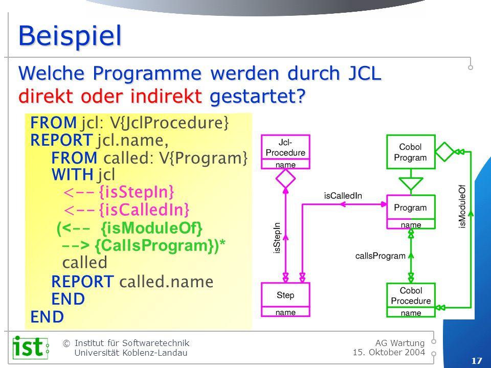 Beispiel Welche Programme werden durch JCL direkt gestartet