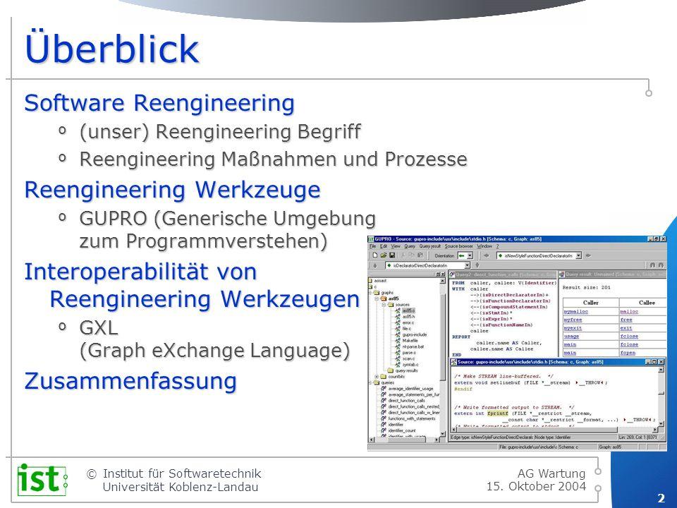 Überblick Software Reengineering Reengineering Werkzeuge