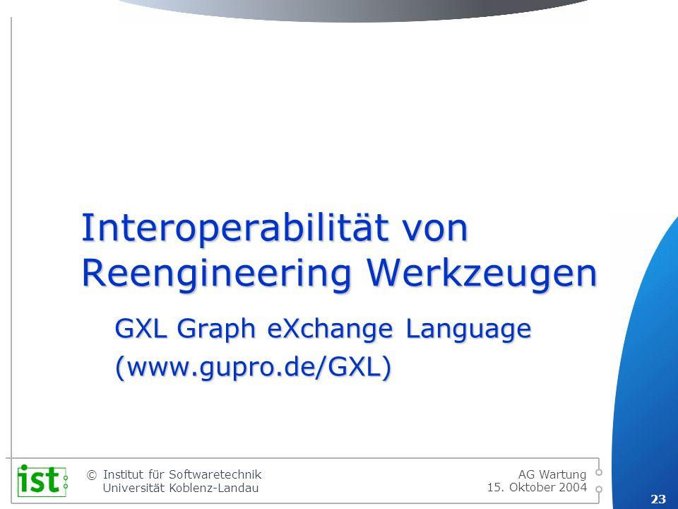 Interoperabilität von Reengineering Werkzeugen