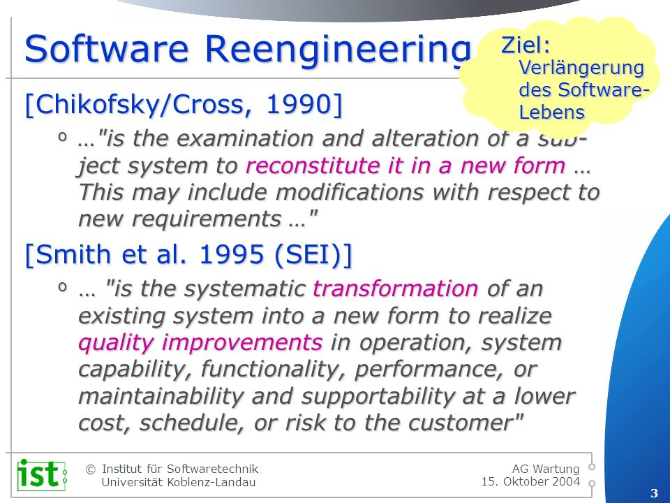 Software Reengineering …