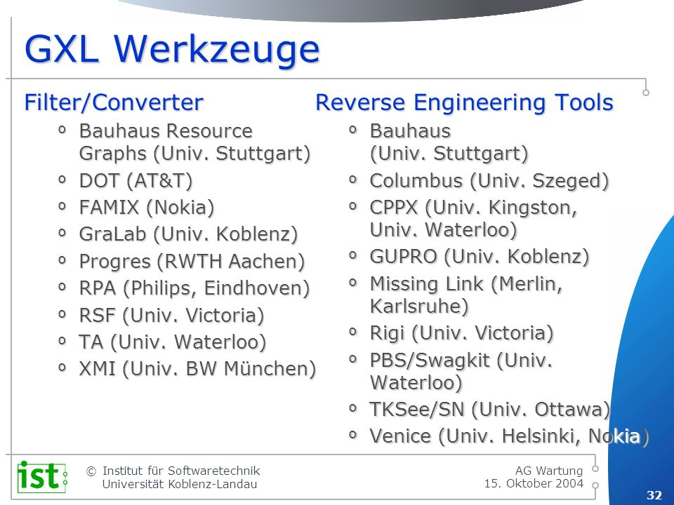 GXL Werkzeuge Filter/Converter Reverse Engineering Tools