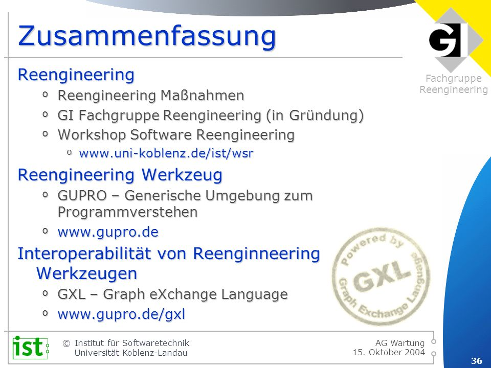 Fachgruppe Reengineering