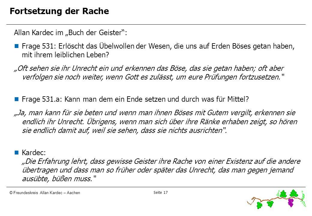 """Fortsetzung der Rache 17171717 Allan Kardec im """"Buch der Geister :"""