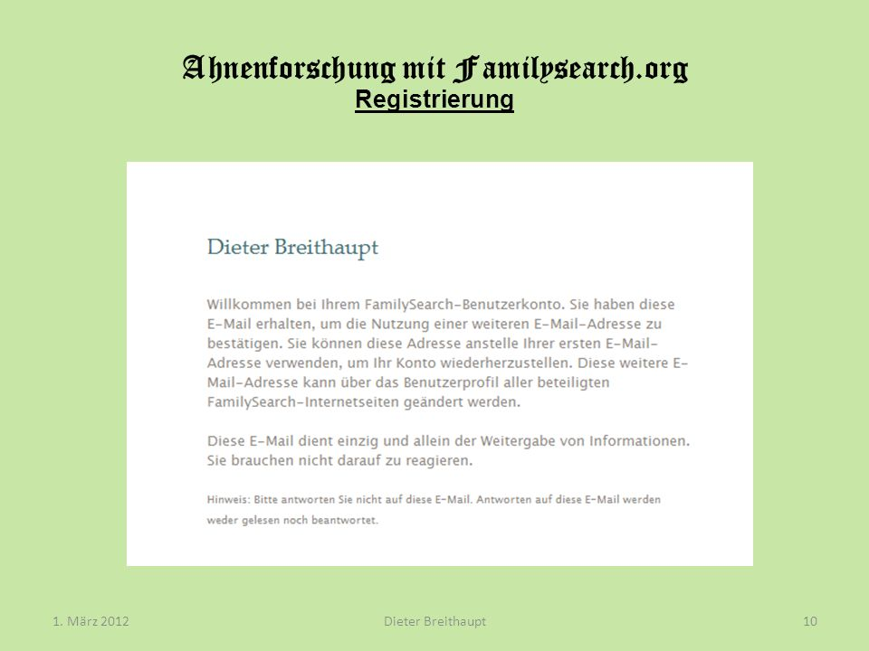 Ahnenforschung mit Familysearch.org Registrierung
