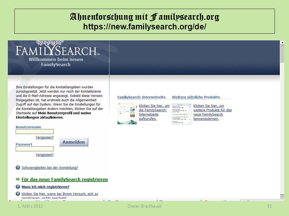 Ahnenforschung mit Familysearch.org https://new.familysearch.org/de/