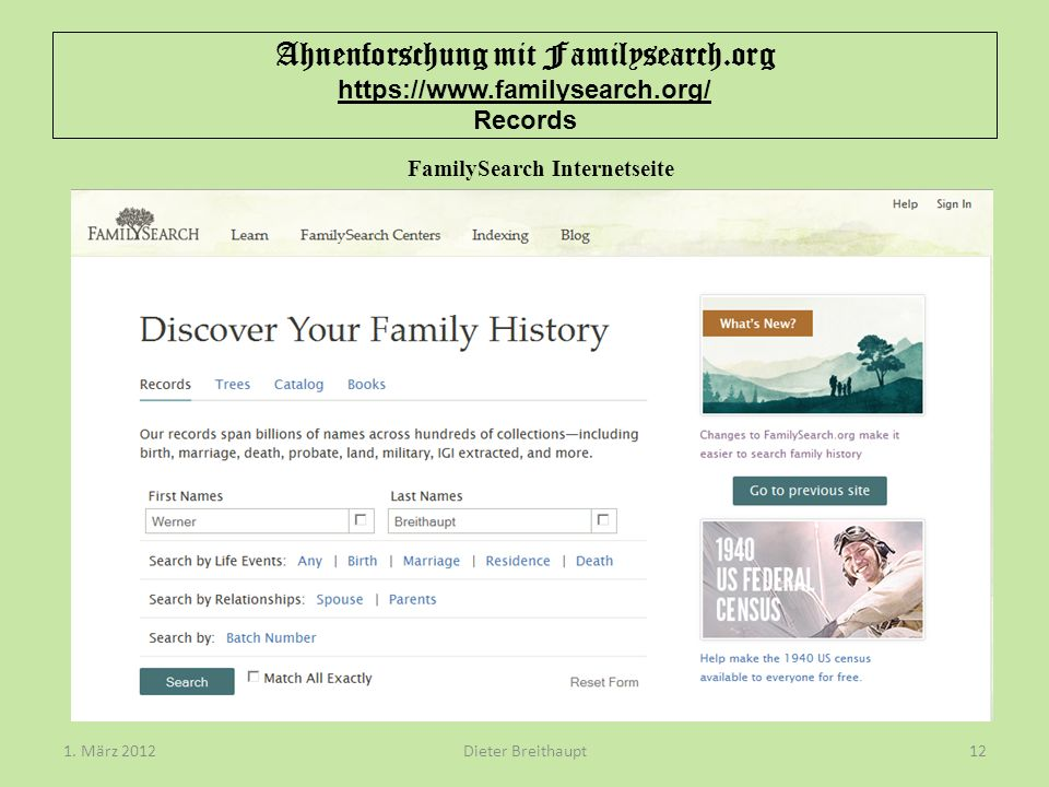 FamilySearch Internetseite
