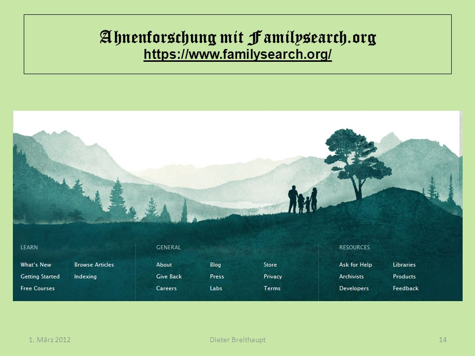 Ahnenforschung mit Familysearch.org https://www.familysearch.org/