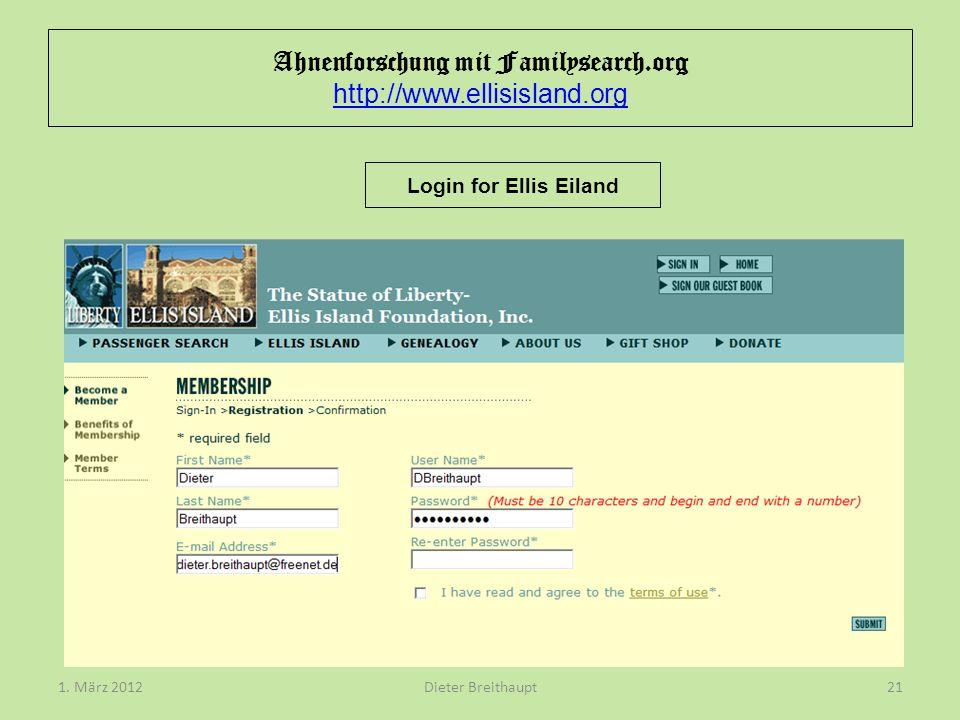Ahnenforschung mit Familysearch.org http://www.ellisisland.org