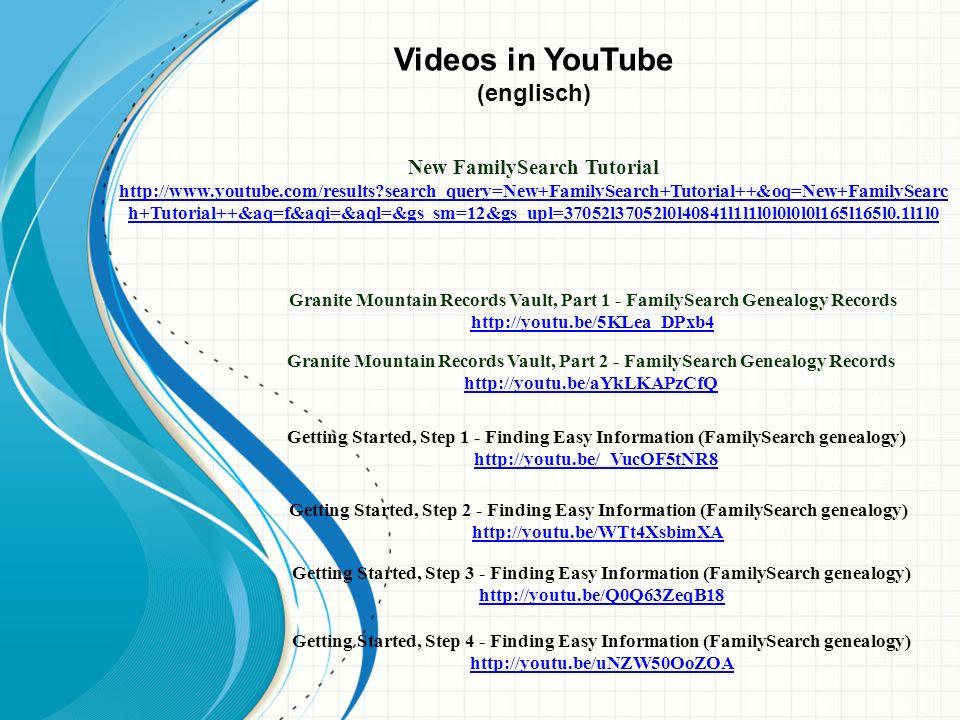 Videos in YouTube (englisch)
