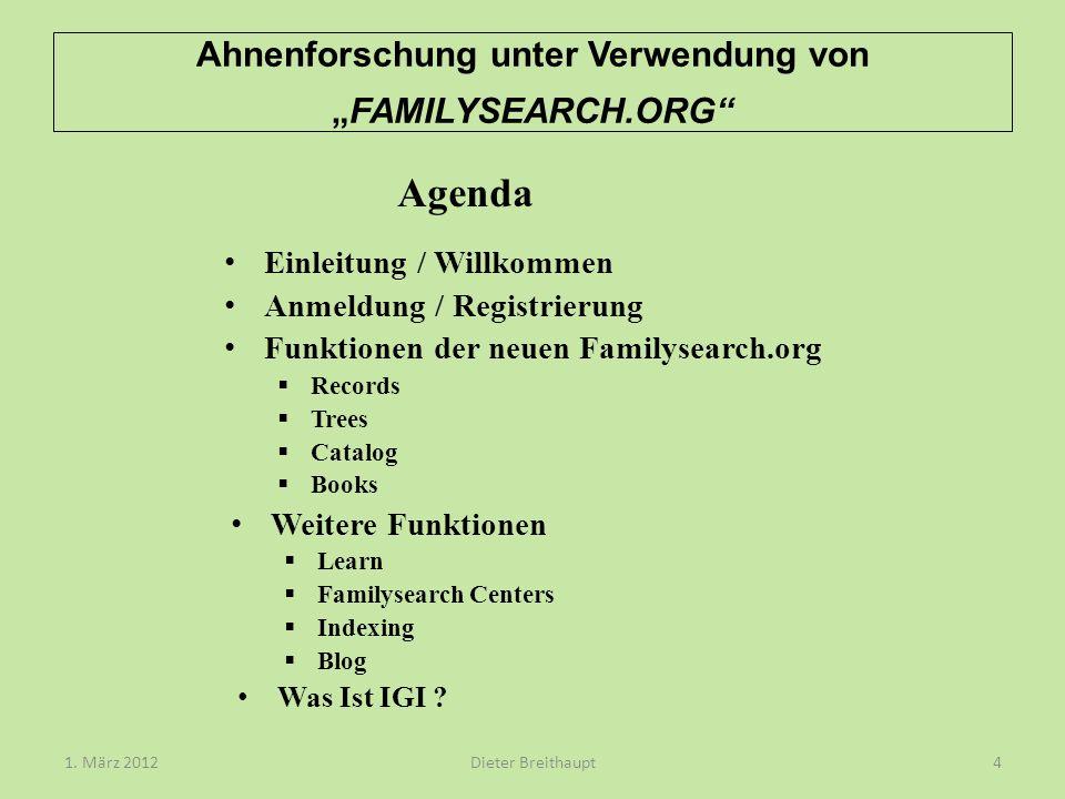 """Ahnenforschung unter Verwendung von """"FAMILYSEARCH.ORG"""