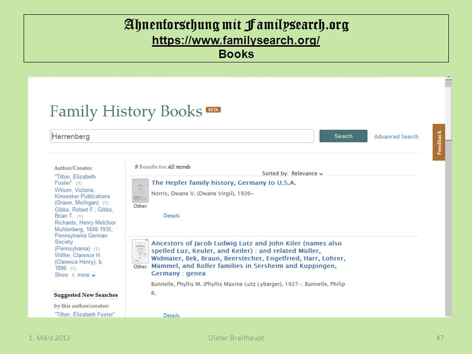 Ahnenforschung mit Familysearch. org https://www. familysearch