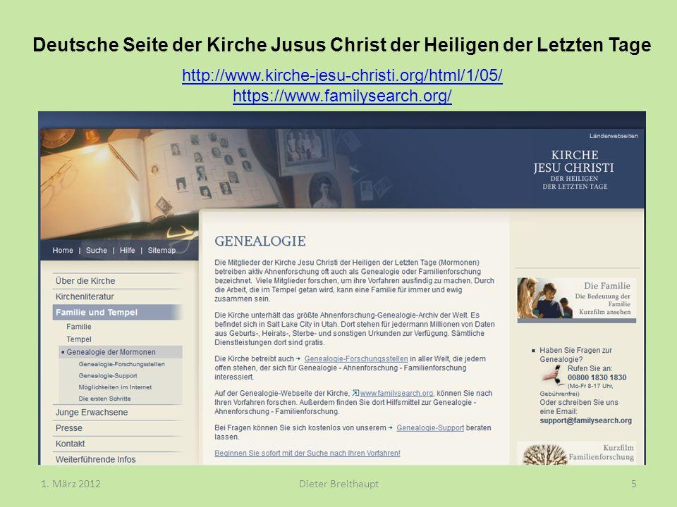 Deutsche Seite der Kirche Jusus Christ der Heiligen der Letzten Tage