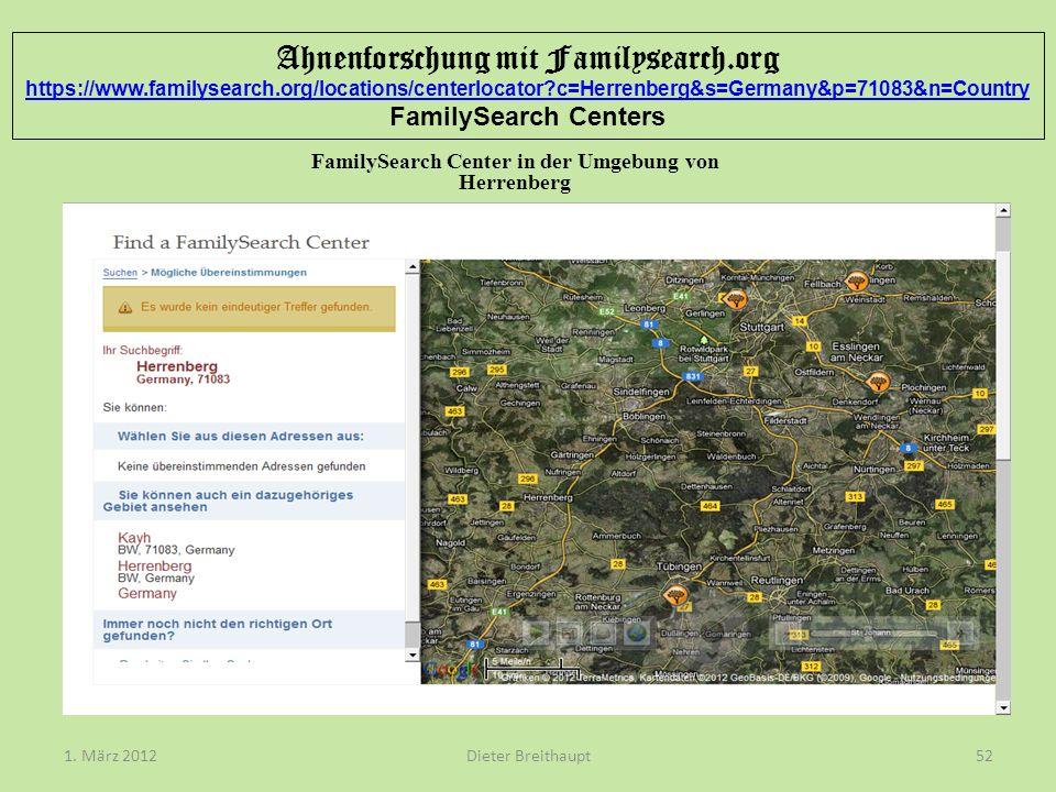 FamilySearch Center in der Umgebung von Herrenberg