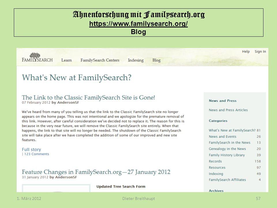 Ahnenforschung mit Familysearch.org https://www.familysearch.org/ Blog