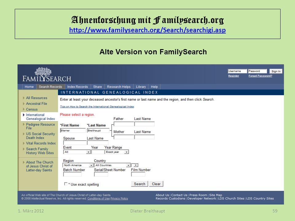 Alte Version von FamilySearch