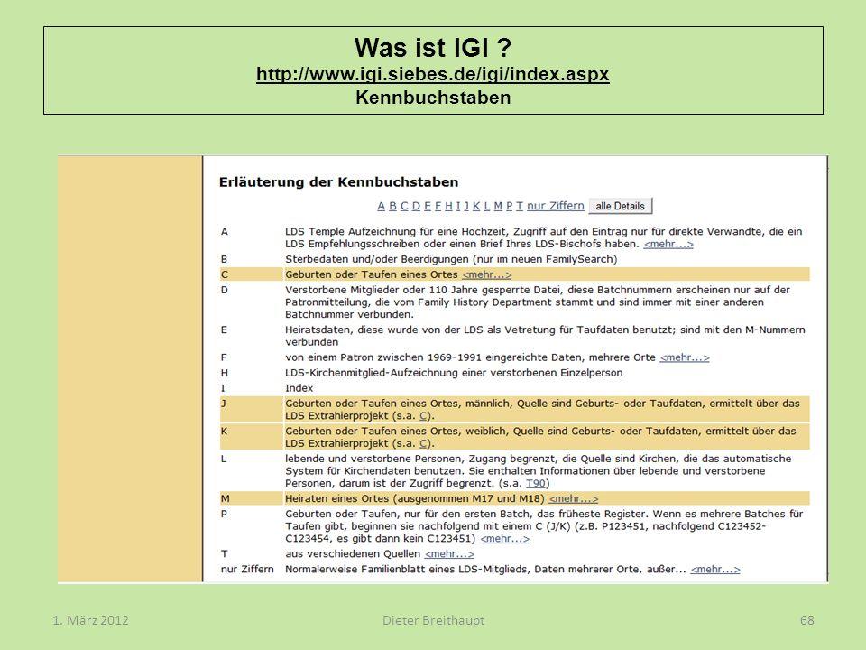 Was ist IGI http://www.igi.siebes.de/igi/index.aspx Kennbuchstaben