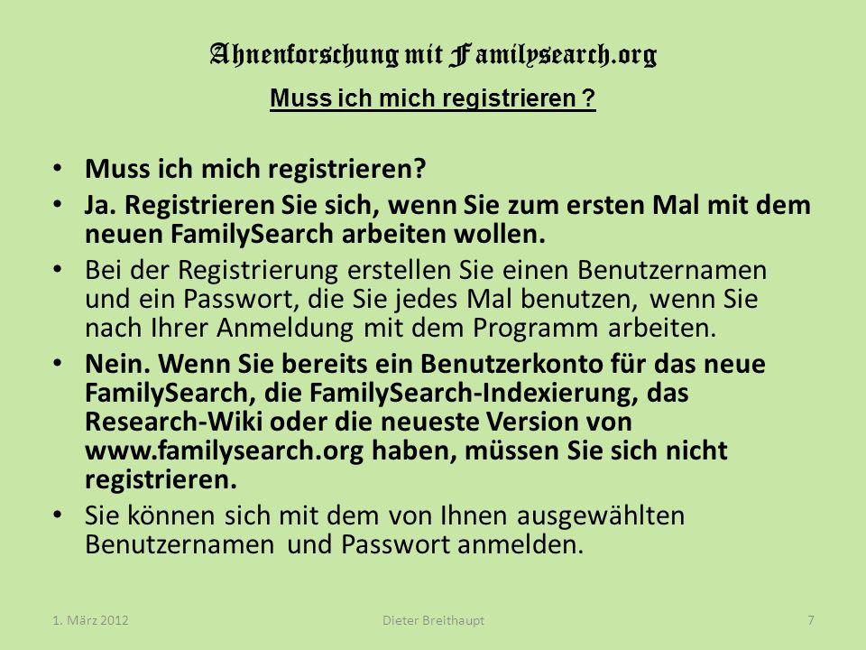 Ahnenforschung mit Familysearch.org Muss ich mich registrieren