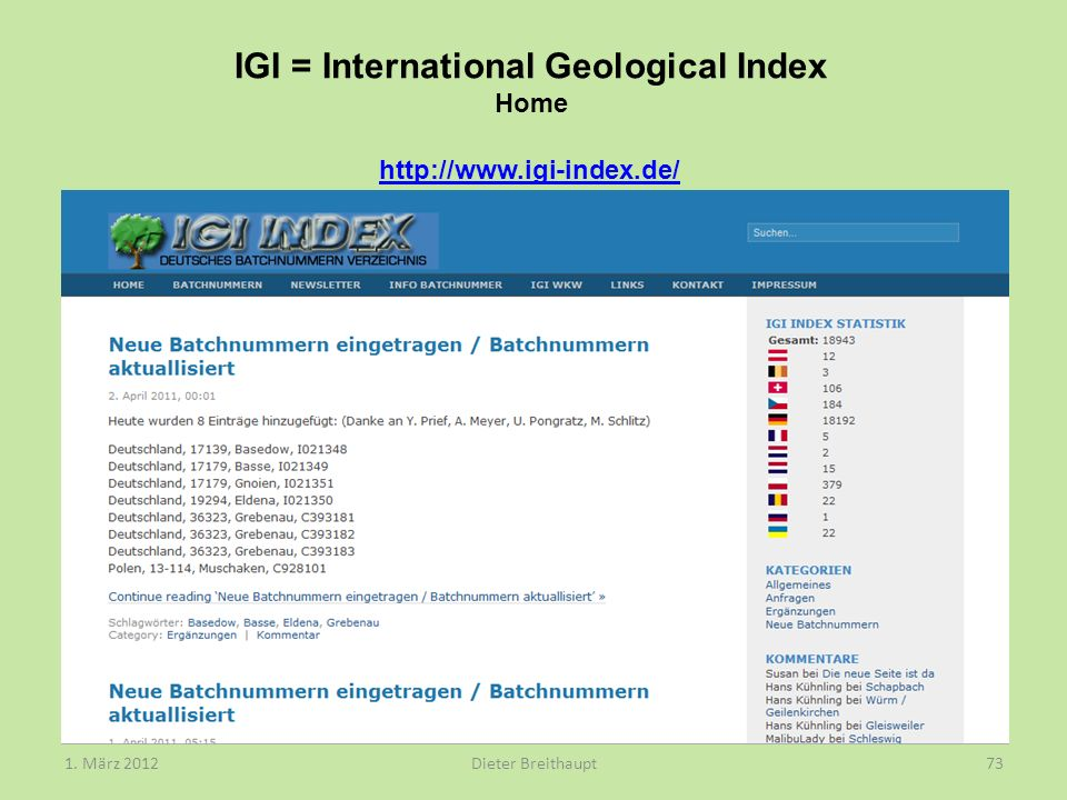 IGI = International Geological Index Home