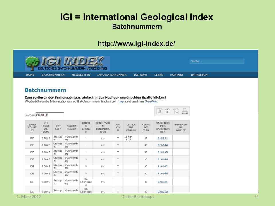 IGI = International Geological Index Batchnummern