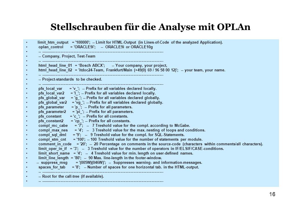 Stellschrauben für die Analyse mit OPLAn