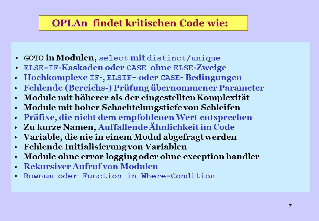 OPLAn findet kritischen Code wie: