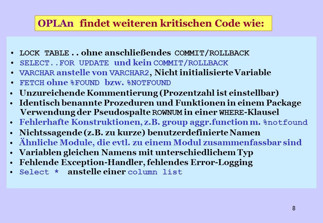 OPLAn findet weiteren kritischen Code wie: