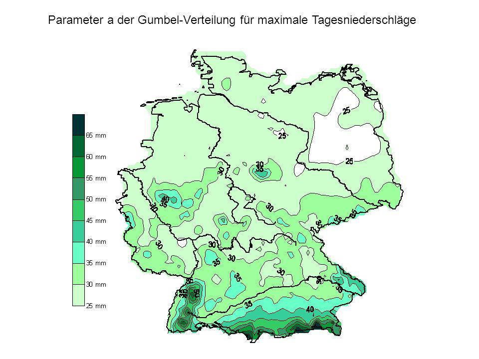 Parameter a der Gumbel-Verteilung für maximale Tagesniederschläge