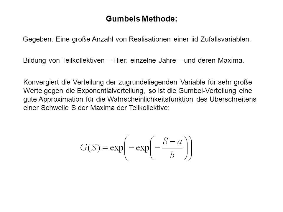 Gumbels Methode: Gegeben: Eine große Anzahl von Realisationen einer iid Zufallsvariablen.